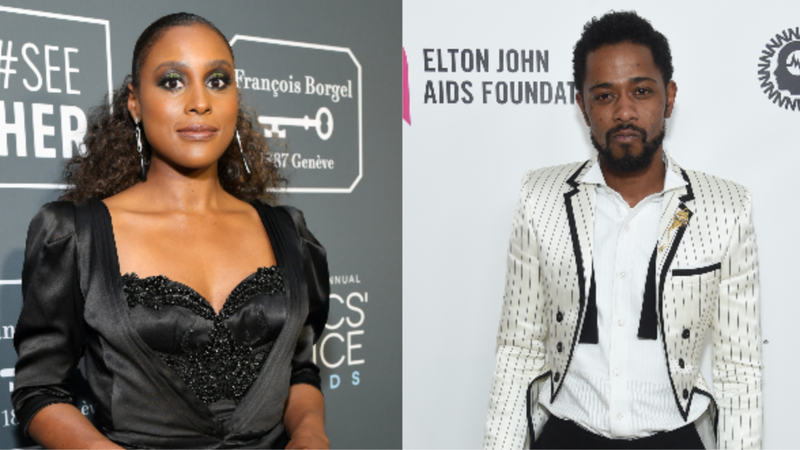 (L-R): Issa Rae attends the 24th annual Critics' Choice Awards on January 13, 2019 in Santa Monica, Ca.; Lakeith Stanfield attends the 27th annual Elton John AIDS Foundation Academy Awards Viewing Party  on February 24, 2019 in West Hollywood, California.