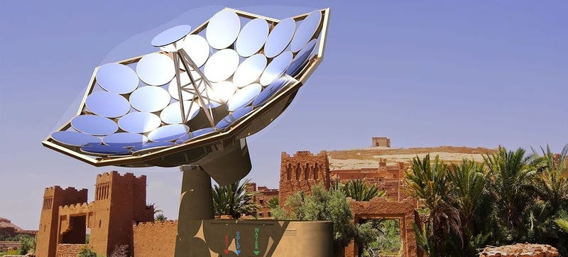 Illustration for article titled This Solar Sunflower Provides Electricity and Clean, Hot Water