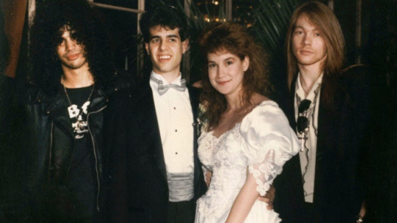 Slash, Marc Canter, his wife, and Axl Rose
