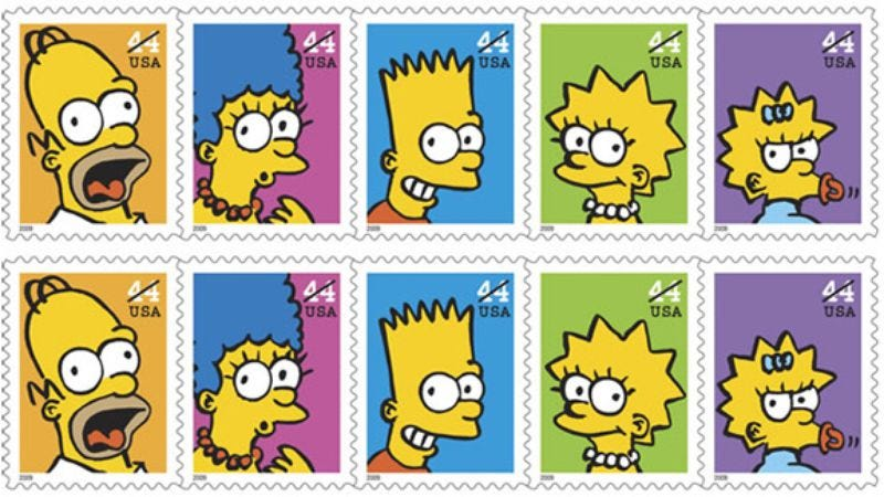 Illustration for article titled Simpsons stamps will arrive May 7