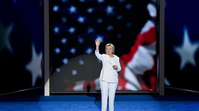 Democratic nominee President Hillary Clinton waves to the crowd following her acceptance speech at the Democratic National Convention in Philadelphia on Thursday, July 28, 2016. (Photo: Bill Clark/CQ Roll Call)