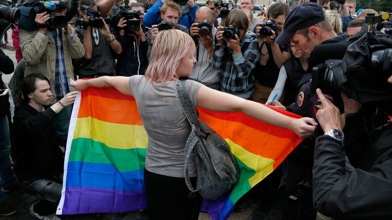 Photo of Aug. 2, 2015, gay rights protest in St. Petersburg via AP