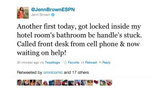 Illustration for article titled BREAKING: ESPN's Jenn Brown Is Locked Inside A Hotel Bathroom And Is Live-Tweeting About It (UPDATED)
