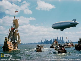 Illustration for article titled Airship Greets a Time-Traveling Mayflower in New York Harbor