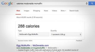Illustration for article titled Google Adds Calorie and Carb Counts for Popular Restaurant Chains