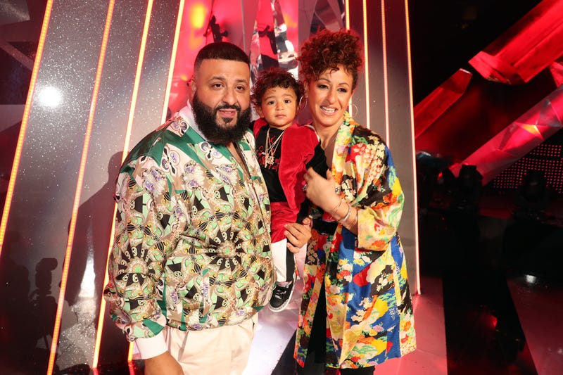 Co-host DJ Khaled with son Asahd Tuck Khaled and wife Nicole Tuck attend the 2018 iHeartRadio Music Awards at the Forum on March 11, 2018, in Inglewood, Calif.