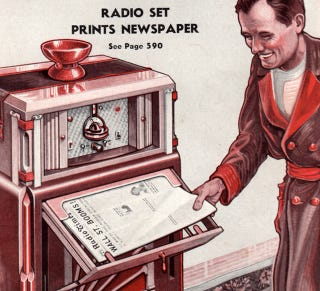 Illustration for article titled The Newspaper of Tomorrow: 11 Predictions from Yesteryear