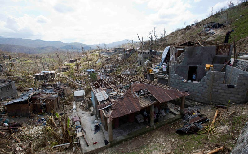 Homes destroyed by Matthew in Moron, Haiti. Image: Dieu Nalio Chery/AP