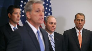 House Majority Leader Kevin McCarthy (R-Calif.) (second from left) holds a news conference with (left to right) Rep. Sean Duffy (R-Wis.), House Majority Whip Steve Scalise (R-La.) and House Speaker John Boehner (R-Ohio) after the weekly House Republican caucus meeting at the U.S. Capitol Nov. 18, 2014, in Washington, D.C.Chip Somodevilla/Getty Images