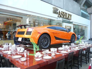 "Illustration for article titled Lamborghini Superleggera On Teacups Takes ""Bull In China Shop"" To Literal Extreme"