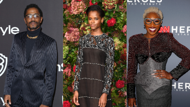 (L-R): Lakeith Stanfield attends the InStyle And Warner Bros. Golden Globes After Party 2019 on January 6, 2019 in Beverly Hills, California; Letitia Wright attends the Evening Standard Theatre Awards 2018 on November 18, 2018 in London, England; Cynthia Erivo attends the 12th Annual CNN Heroes: An All-Star Tribute on December 9, 2018 in New York City.