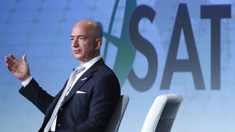 Jeff Bezos, CEO of Amazon and founder of Blue Origin, speaks during the Access Intelligence's SATELLITE 2017 conference at the Washington Convention center on March 7, 2017 in Washington, DC. (Photo: Getty)