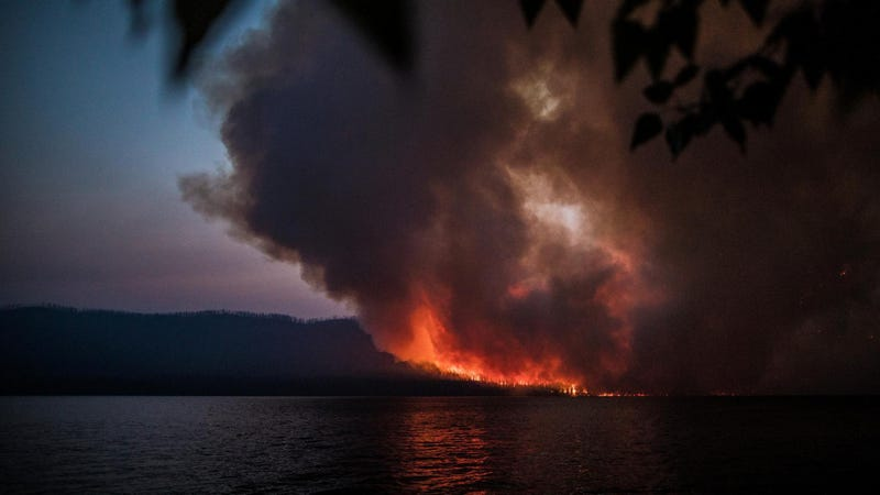 The Howe Ridge Fire, one of a number of fires burning in Glacier National Park. The Boundary Fire has forced evacuations in next door Waterton Lakes National Park.