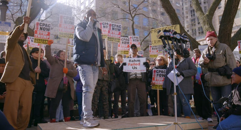Will Calloway and other Chicago residents protest the shooting of Laquan McDonald in 16 Shots