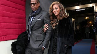 Jay Z and Beyoncé arrive at the presidential inauguration on the West Front of the U.S. Capitol Jan. 21, 2013, in Washington, D.C. Win McNamee/Getty Images