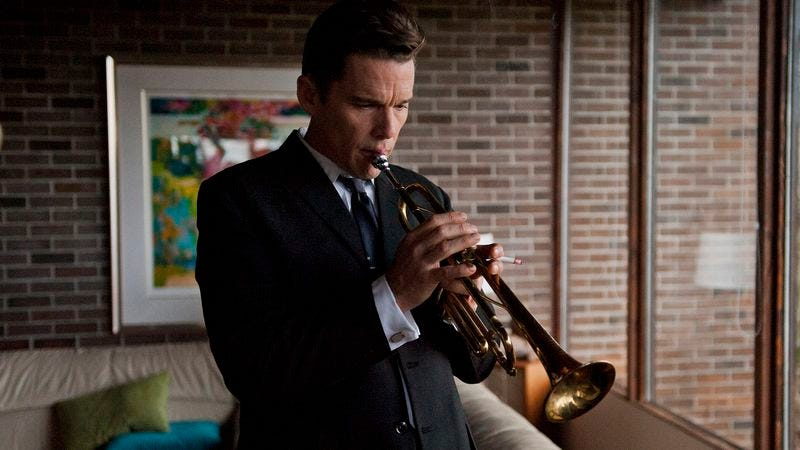 """Illustration for article titled Ethan Hawke sustains the Chet Baker """"anti-biopic"""" Born To Be Blue"""