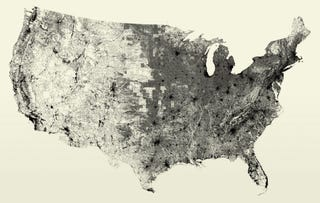 Illustration for article titled A Map Made By Charting Every Single Street and Road In the US