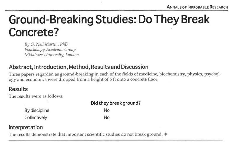 Illustration for article titled This just in: groundbreaking studies do not actually break ground