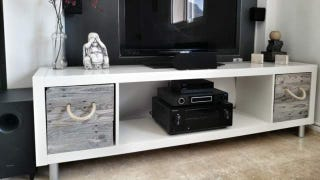 Illustration for article titled Make a DIY TV Stand with an IKEA Expedit and Pallet Boxes