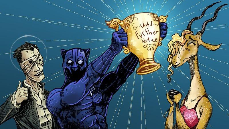 David Bowie, Black Panther and Gazelle celebrate their accomplishment (Illustration: Nick Wanserski)