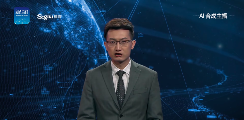 "Illustration for article titled Peddling fake news gets even easier as China's state-run press rolls out terrifying ""AI anchors"""