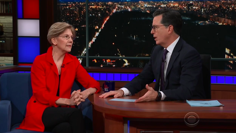 Elizabeth Warren talks Trump's racial slurs, sex scandals, and the GOP tax scam on The Late Show