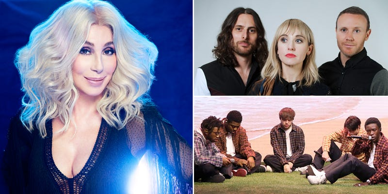 Cher (Photo: Machado Cicala), The Joy Formidable (Photo: Tim Hiatt), and Brockhampton (Photo: Andrew Lipovsky/NBC)