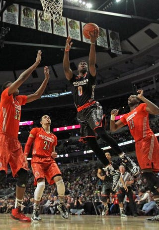 Emmanuel Mudiay, No. 0 of the West Team, goes up for a shot during the 2014 McDonald's All American Game at the United Center in Chicago April 2, 2014.Jonathan Daniel/Getty Images