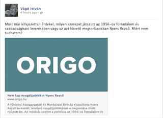 Illustration for article titled Vágó István a Nagy Imre kivégzésére szavazó Nyers Rezsőt védi