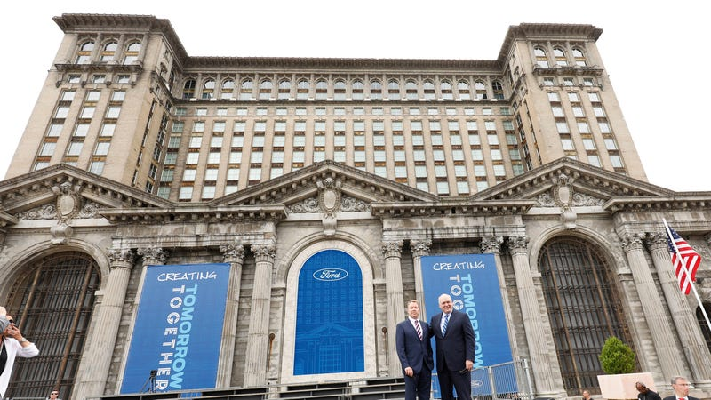 Bill Ford and Jim Hackett at the announcement of Ford's Michigan Central Station investment