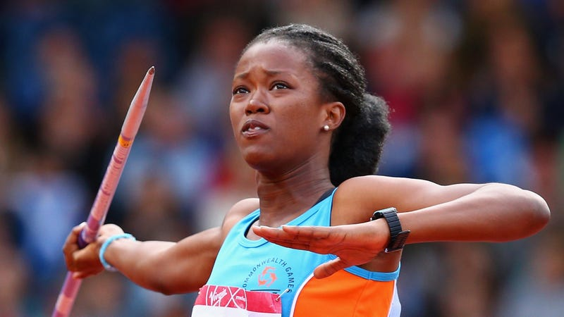 Dee-Ann Kentish-Rogers of Anguilla competes in the Women's Heptathlon Javelin at Hampden Park during day seven of the Glasgow 2014 Commonwealth Games on July 30, 2014 in Glasgow, United Kingdom.
