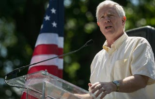 U.S. Rep. Mo Brooks (R-Ala.) speaks at a rally on July 15, 2013, against Senate immigration legislation and the impact illegal immigration has on reduced wages and employment opportunities for some Americans. Drew Angerer/Getty Images