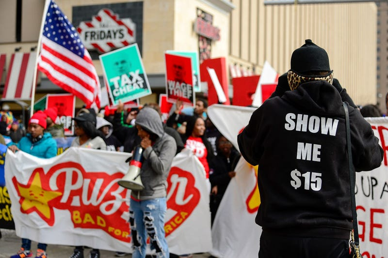 Protesters rally in St. Louis on Feb. 13, 2017, against President Donald Trump's secretary of labor nominee Andrew Puzder outside a Hardee's restaurant. (Jeff Curry/Getty Images)