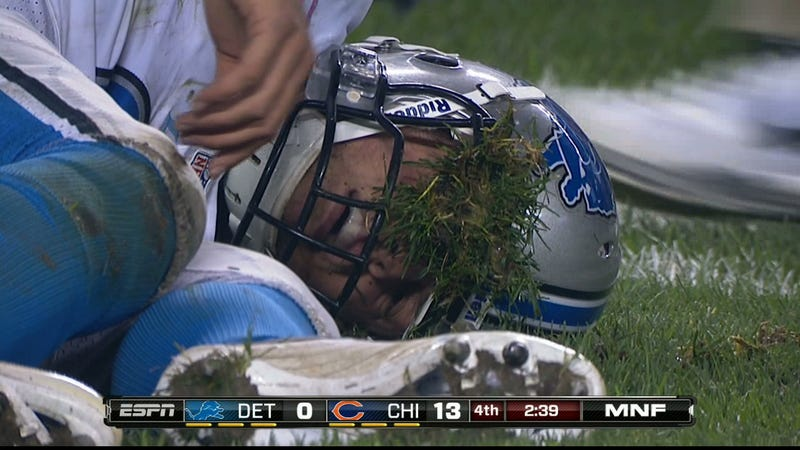 Illustration for article titled The Flesh-Eating Turf Monster Victimized Matt Stafford Last Night