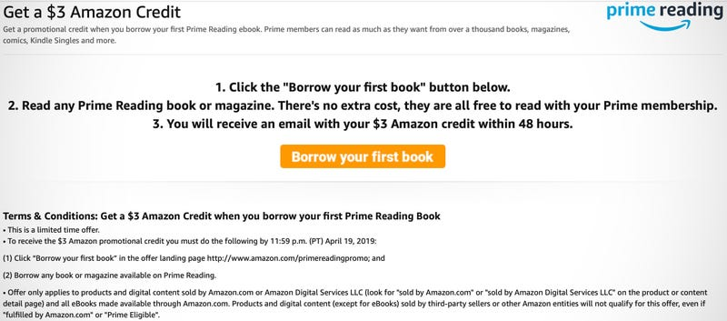 FREE $3 Amazon Credit after borrowing first free Prime Reading book