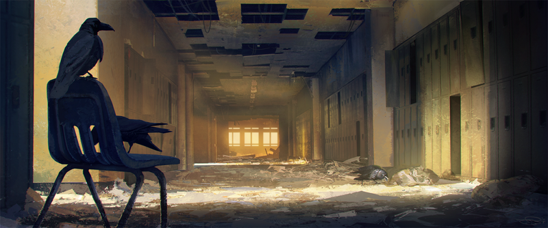 Illustration for article titled In the abandoned human school, ravens were learning to read