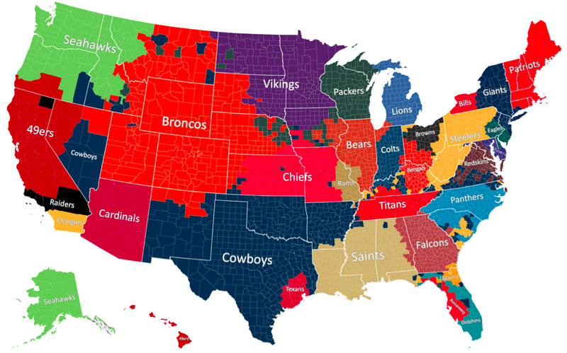 Illustration for article titled A County-By-County Map Of NFL Allegiance