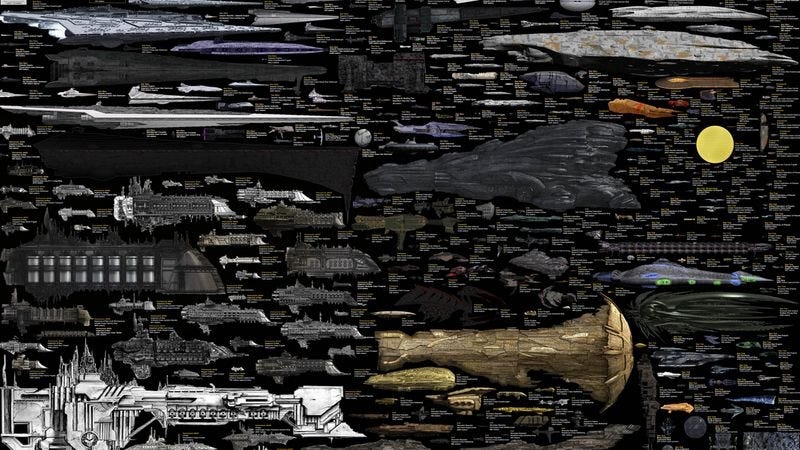 Illustration for article titled Here's a massive chart of the massive ships of famous science fiction series