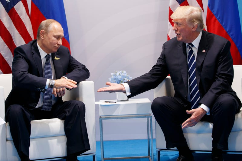 President Donald Trump meets with Russian President Vladimir Putin at the G20 Summit at the G20 Summit, Friday, July 7, 2017, in Hamburg. (AP Photo/Evan Vucci)