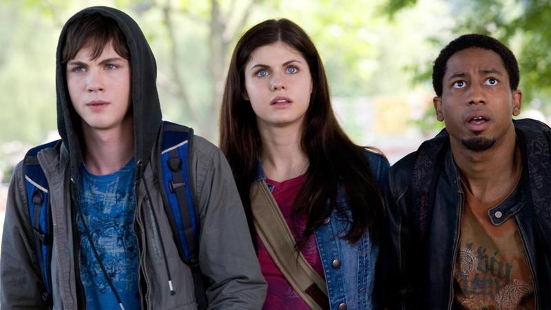 Logan Lerman, Brandon T Jackson, and Alexandra Daddario as the stars of Percy Jackson.