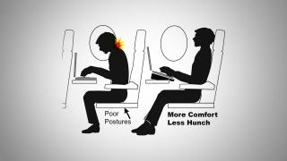 Illustration for article titled Angle Your Laptop for Better Comfort on an Airplane
