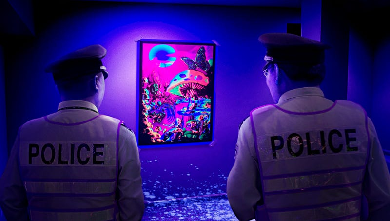 Illustration for article titled Authorities Say Blacklight Analysis Shows Velvet Poster Of Mushroom Kingdom Looking Even Cooler Than Previously Imagined