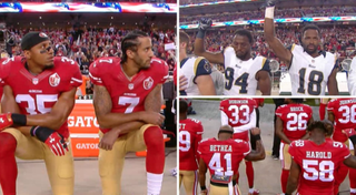 Players from the San Francisco 49ers and the Los Angeles Rams protest during the national anthem. Twitter
