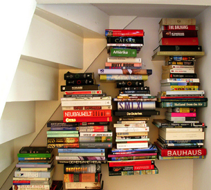Floating Bookshelves under-the-staircase floating bookshelves