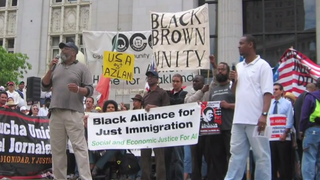 Black Alliance for Just Immigration activists protest Arizona's S.B. 1070 legislation.YOUTUBE SCREENSHOT COURTESY OF BAJI