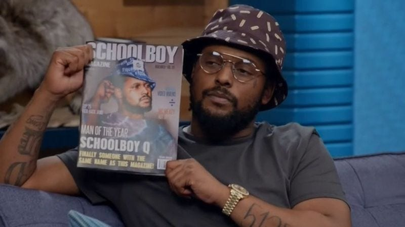 "Comedy Bang! Bang!: ""Schoolboy Q Wears A Patterned Bucket Hat And Glasses"""