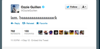 Illustration for article titled Ozzie Guillen Is Back On Twitter And As Crazy As Ever