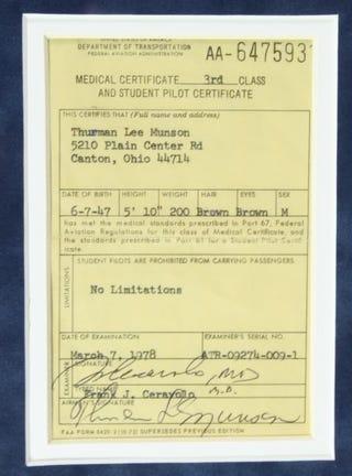 Illustration for article titled On The Block: Thurman Munson's Pilot License