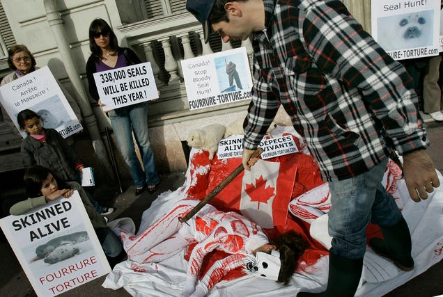Activists protesting in France in 2009 against Canada's annual seal hunt. Photo: AP