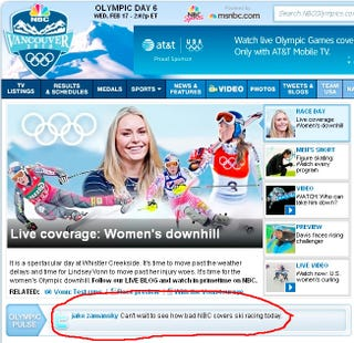 Illustration for article titled Even NBCOlympics.com Hates NBC's Olympic Coverage